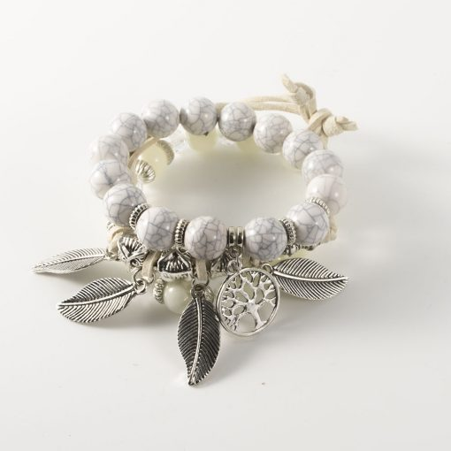 Hot sale Europe and America life tree multi-layer handmade glass beaded bracelet yhy-095