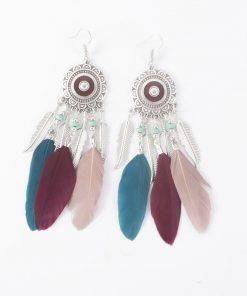 Middle Eastern ethnic feather feather tassel earrings Bohemian beach style sunflower flower earrings small jewelry yhy-041