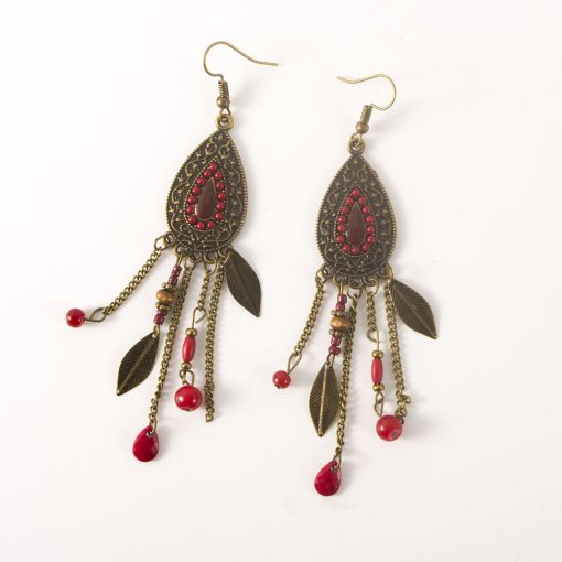 Middle Eastern retro ethnic style jewelry fashion oval leaf earrings exaggerated  rice beads long tassel earrings YHY-062