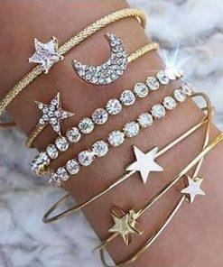 Europe and the United States hot bracelet with diamonds stars moon open bracelet four-piece bracelet set YHY-092