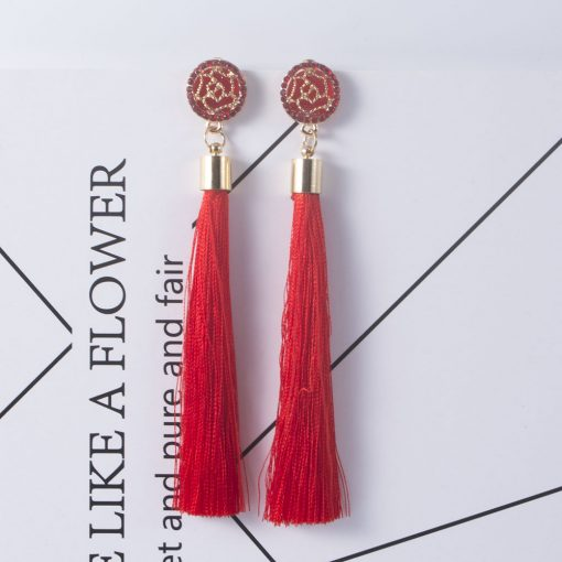 Fashion explosion models exaggerated long temperament rose flower tassel earrings female YHY-043