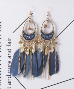 European and American color long earrings retro national wind feather tassel earrings jewelry wholesale YHY-066