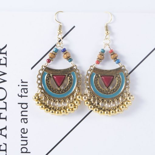 Vintage earrings Europe and America exaggerated Indian style drop oil metal ball earrings female dripping tassel earrings YHY-035