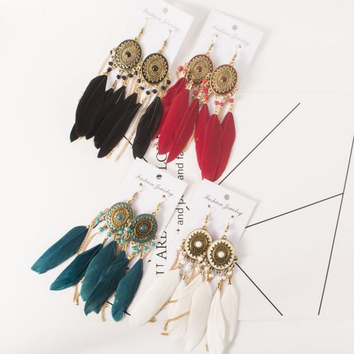 Bohemian national style long tassel earrings manufacturer jewelry wholesale YHY-040