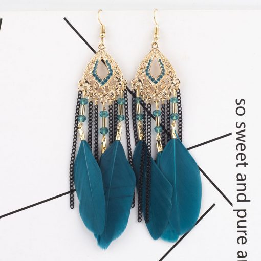 European and American fashion national wind feather tassel earrings retro exaggerated long earrings wholesale YHY-069