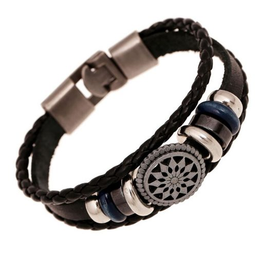 Buckle men's leather bracelet European and American new jewelry Weaving vintage leather bracelet factory direct supply YHY-097