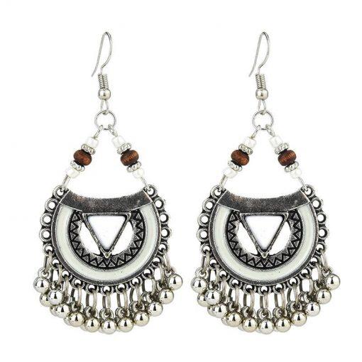 Vintage earrings Europe and America exaggerated Indian style drop oil metal ball earrings female dripping tassel earrings YHY-035