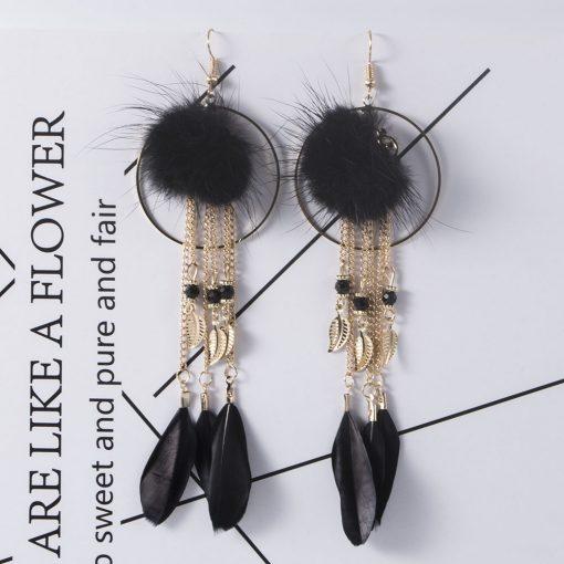 Fashion three-dimensional hair ball earrings long tassel earrings retro temperament alloy leaf feather earrings YHY-053