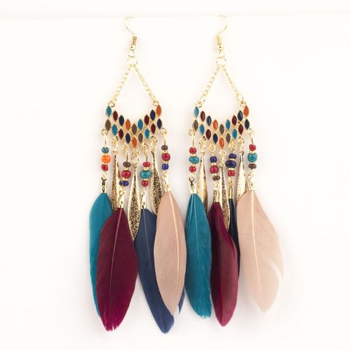 Popular feather tassel earrings bohemian retro rice beads drop oil long earrings handmade earrings YHY-045