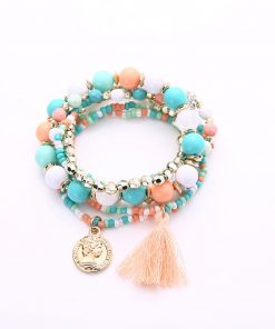Korean fashion metal gorgeous beauty head coin tassel wild multi-layer temperament bracelet YHY-085