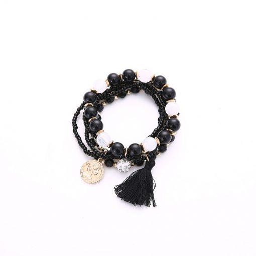 Korean fashion metal gorgeous beauty head coin tassel wild multi-layer temperament bracelet YHY-085