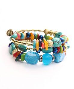 European and American bracelets retro imitation natural stone pine agate beaded multi-layer winding bracelet bracelet YHY-070