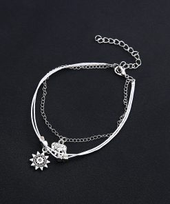 Bohemian alloy elephant sun multi-layered foot ornament vintage anklet yhy-093