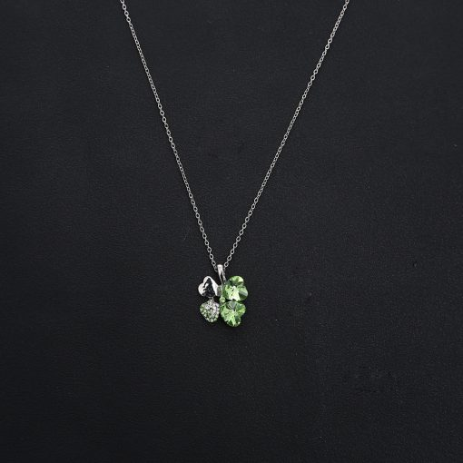 Factory direct ladies full diamond crystal lucky four-leaf clover necklace Korean version of clavicle chain alloy necklace wholesale YHY-101