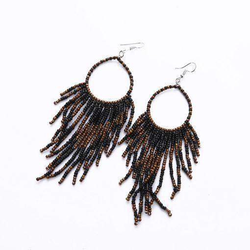 bohemian long tassel earrings handmade beaded pendant earrings wholesale YHY-044