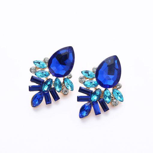 Fashion Gold Shiny Gem Temperament Stud Earrings Fashion Geometry Water Drops Stud Earrings wholesale YHY-049