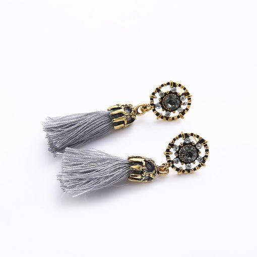 Retro exaggerated flash diamond flower earrings Europe and America tassels drop ear jewelry wholesale YHY-063