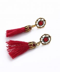 Retro exaggerated flash diamond flower earrings Europe and America tassels drop ear jewelry wholesale YHY-063