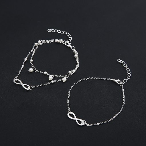 Hot sale beach five-piece anklet Foot decoration set combination pearl love YHY-089