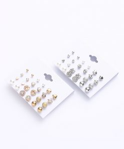 Hot earrings set Korean version of the card square zircon earrings Heart diamond earrings YWHY-016