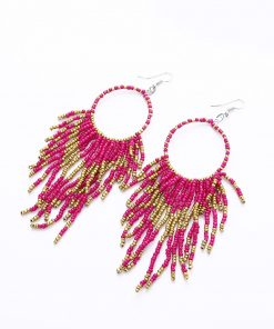 bohemian long tassel earrings handmade beaded pendant earrings wholesale YHY-044