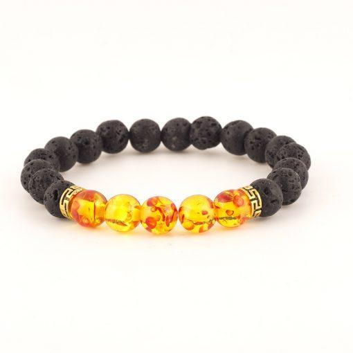 Natural stone 8mm volcanic stone yoga energy bracelet volcanic stone seven chakra braided bracelet yhy-079