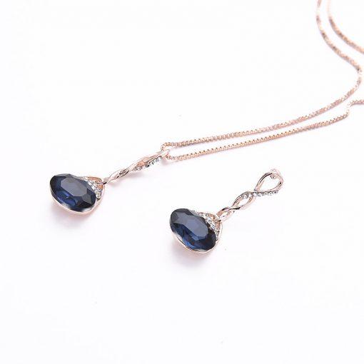 Hot water drops geometric earrings necklace set Bride set wholesale factory direct YHU-033