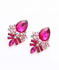 Fashion Gold Shiny Gem Temperament Stud Earrings Fashion Geometry Water Drops Stud Earrings wholesale YHY-049