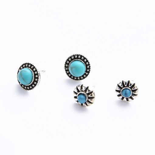 Explosion jewelry bohemian style 5 pairs of earrings set Crown crescent wings pine stone earrings female YHY-060