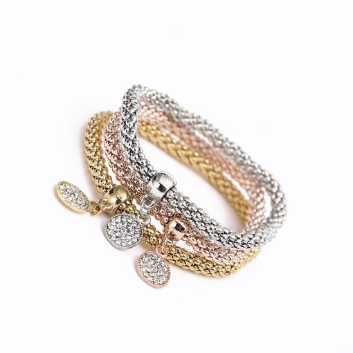 Alloy set elastic popcorn corn chain Diamond butterfly pendant bracelet female jewelry yhy-072