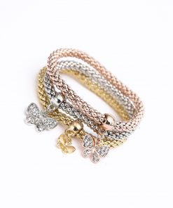 Alloy set elastic popcorn corn chain Diamond butterfly pendant bracelet female jewelry yhy-072