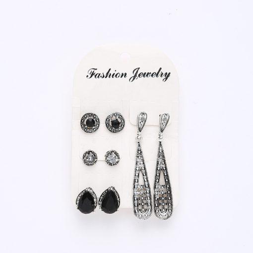Earrings new bohemian black diamond long retro zircon 4 pairs of earrings  set combination yhy-039