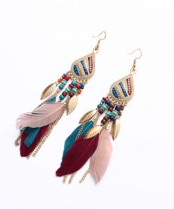 Tassel earrings Bohemian retro temperament water droplets feather long earrings national wind earrings wholesale yhy-038