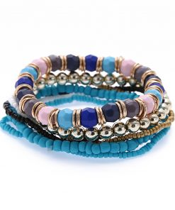 Fashion bracelet wholesale Korean fashion multi-layer rice beads mixed color elastic bracelet yhy-080