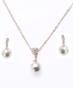 Bridal Rhinestone Pearl Necklace Set Europe and America Wedding Jewelry Party Dress Earrings Jewelry YHU-029