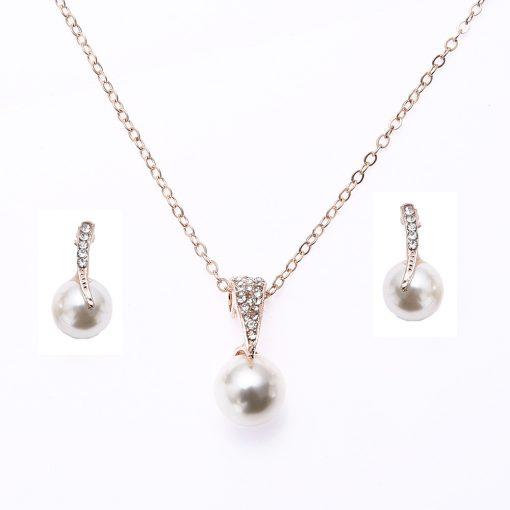 Bridal Rhinestone Pearl Necklace Set Europe and America Wedding Jewelry Party Dress Earrings Jewelry YHU-029