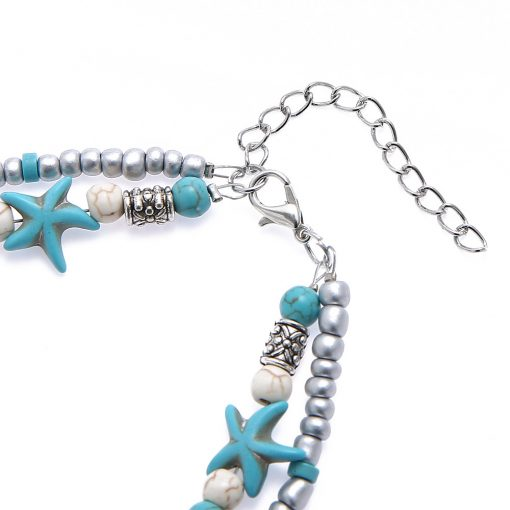 European and American fashion double-layer anklet Conch starfish yoga beach turtle pendant anklet YHY-087