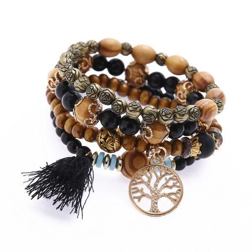 tassel multi-layer bracelet jewelry handmade turquoise tree versatile temperament bracelet yhy-074