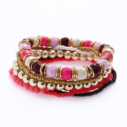Fashion bracelet wholesale Korean fashion multi-layer rice beads mixed color elastic bracelet yhy-080
