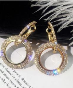 Hot rhinestone earrings Fashion creative long earrings women temperament diamond geometric circle earrings YWHY-016