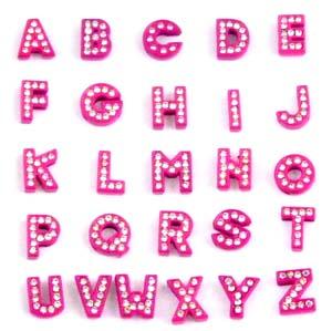 8 mm enamel hot pink letters for 8 mm belts, steel belts.