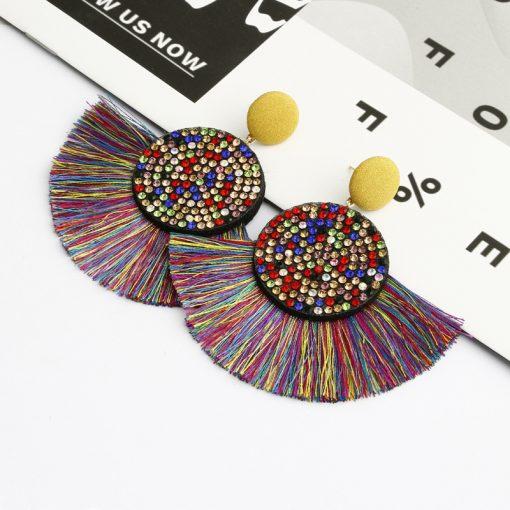 European and American hot ladies fashion flash drill fan-shaped tassel earrings Exaggerated retro tassel earrings YLX-011