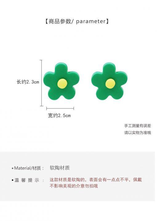 Girl color   flower earrings Korea knock cute child candy color cute earrings YLX-008