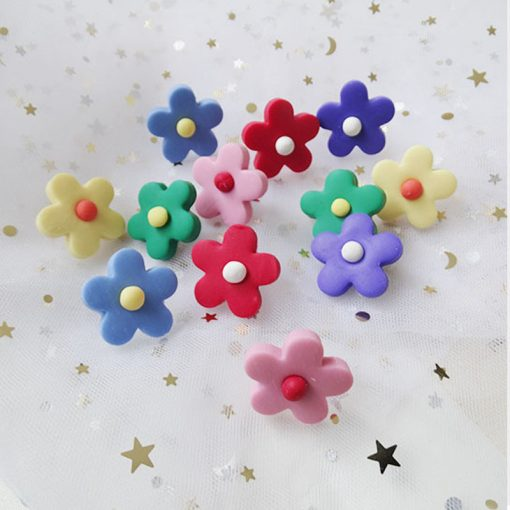 Girl color   flower earrings Korea knock cute child candy color cute earrings Color mixing YLX-008