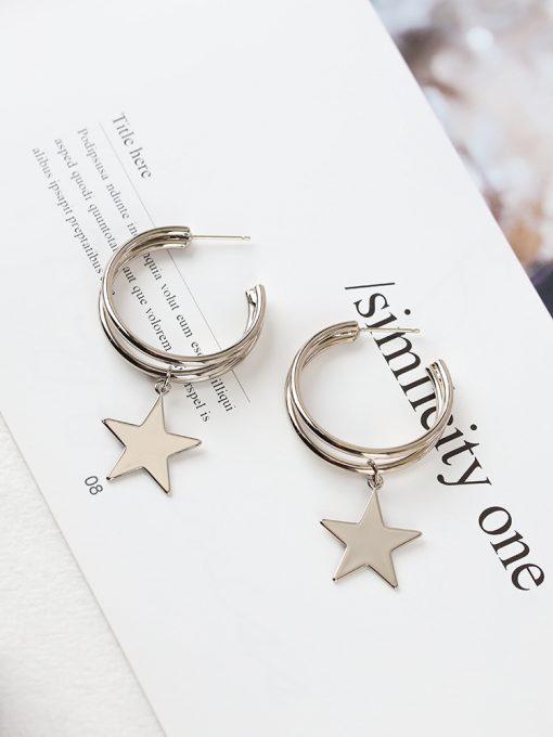 Sterling silver needle star earrings wild five-pointed star earrings new net red earrings original YLX-003