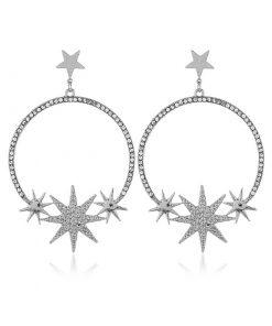 Fashion alloy star moon flash drill street beat star earrings female temperament retro earrings  YLX-005