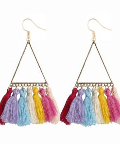 Fashion lady bohemian ethnic style fan-shaped earrings woolen retro fringe pendant earrings YLX-001