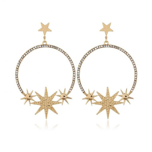 Fashion alloy star moon flash drill street beat star earrings female temperament retro earrings  YLX-005