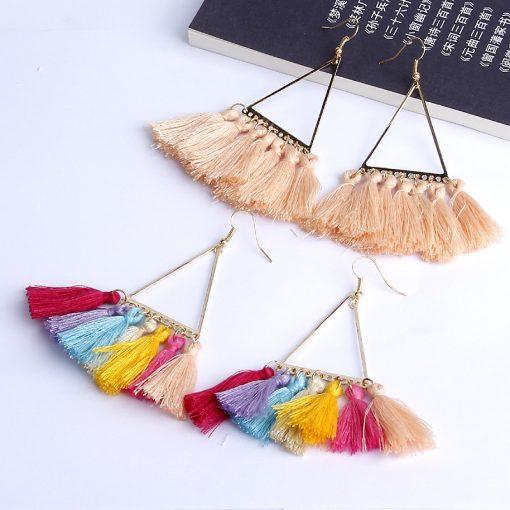 Fashion lady bohemian ethnic style fan-shaped earrings woolen retro fringe pendant earrings YLX-001