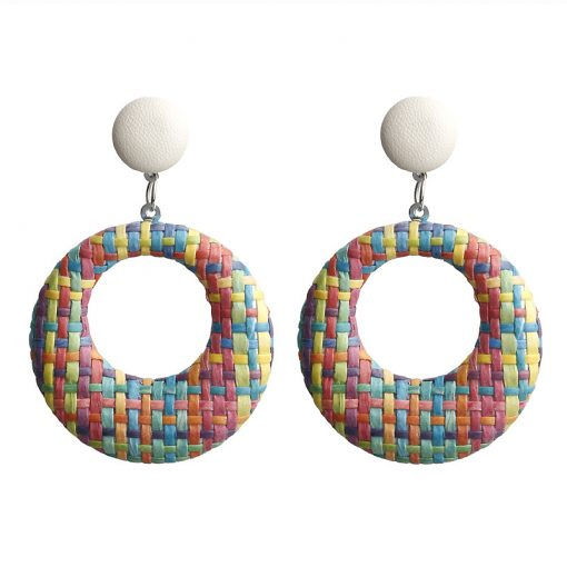 New earrings Bohemian retro simple hollow woven circle earrings YLX-002